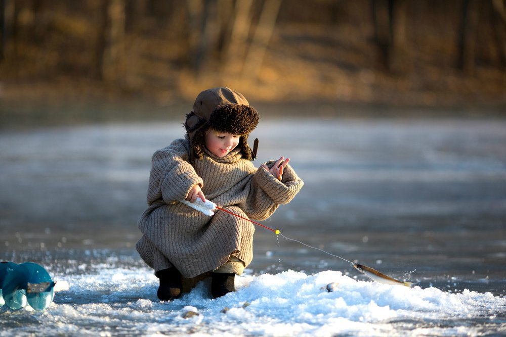 Рыбалка с детьми зимой